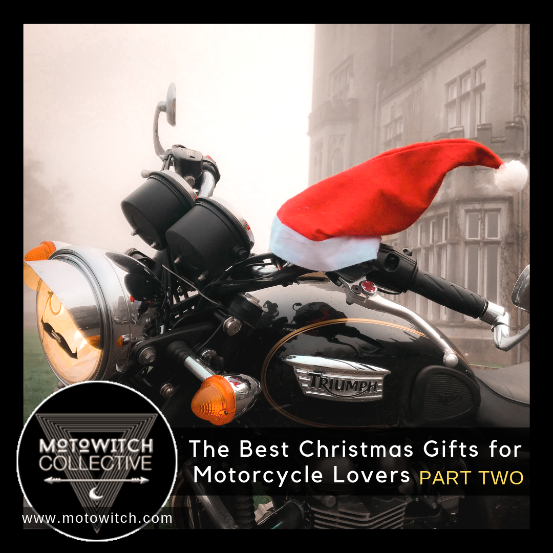 Motowitch Christmas List for Motorcycle Lovers PART TWO Triumph Bonneville T100 outside Irish Castle with Santa Hat