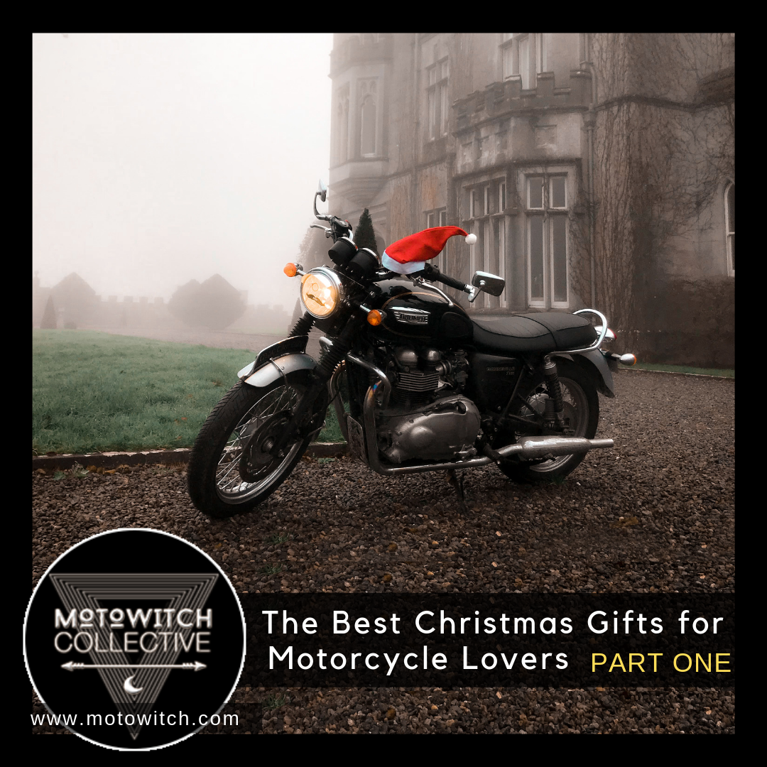 Motowitch Christmas List for Motorcycle Lovers PART one Triumph Bonneville T100 outside Irish Castle with Santa Hat
