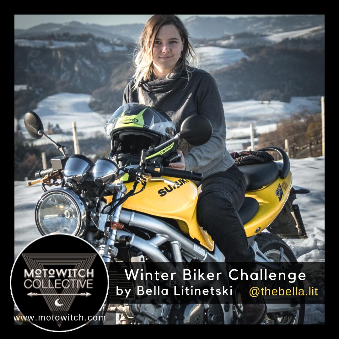 Female motorcycle rider, Bella Lit on her Suzuki SV650 for winter motorbike riding tips