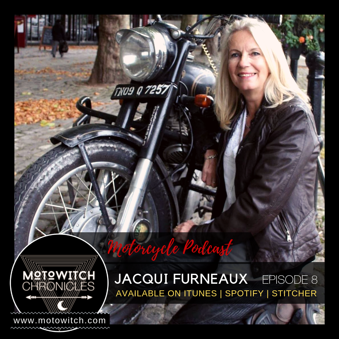Jacqui Furneaux female motorcycle adventure rider and author speaking to host, Kojii Helnwein on motorcycle podcast Motowitch Chronicles Episode 8