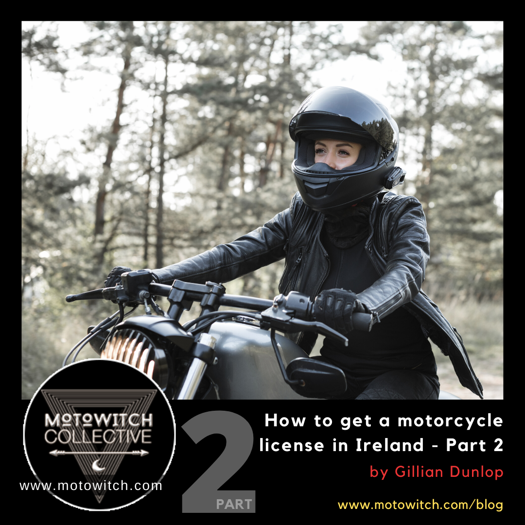 young biker woman riding a custom motorcycle on forest road wearing black helmet and black leather motorcycle jacket for how to get a motorcycle license in ireland